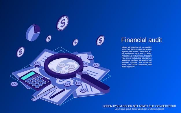 Audit finanziario, analisi, controllo, illustrazione di concetto isometrico piatto di statistiche