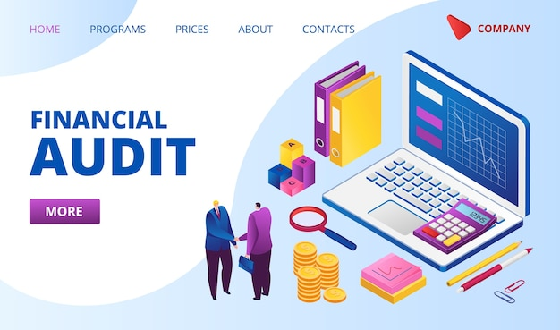 Pagina web di destinazione dell'audit finanziario