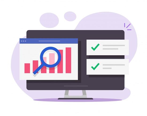 Rapporto di analisi di ricerca di audit finanziario online su computer desktop
