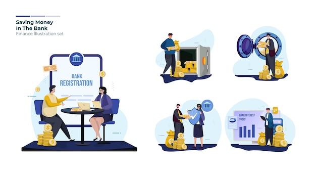 Set di raccolta di illustrazioni finanziarie e bancarie