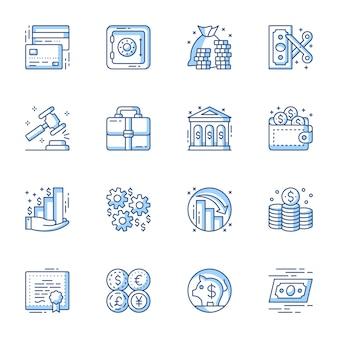 Set di icone vettoriali lineare di servizi finanziari e bancari.