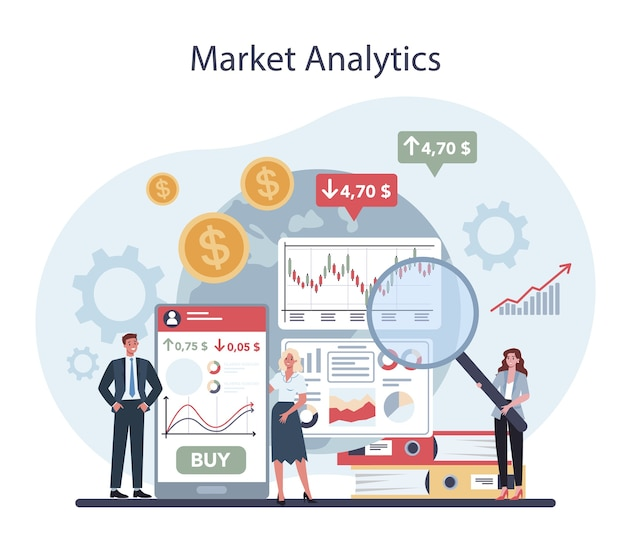 Mediatore finanziario. analisi di mercato, investimento e concetto di risparmio.
