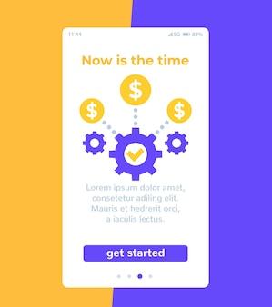 App di affari finanziari, progettazione dell'interfaccia utente mobile, vettore
