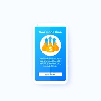 App di affari finanziari, interfaccia utente mobile, vettore