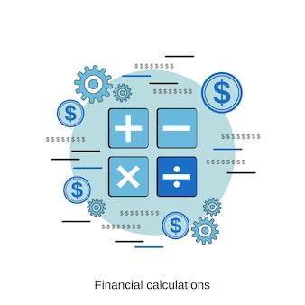 Illustrazione di concetto di vettore di stile di design piatto di calcolo finanziario