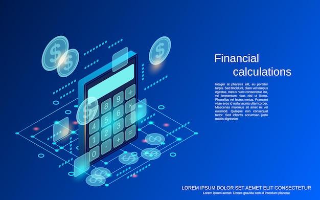 Calcoli finanziari piatto 3d isometrico concetto di vettore illustrazione