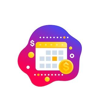 Calendario finanziario, icona del vettore di pianificazione