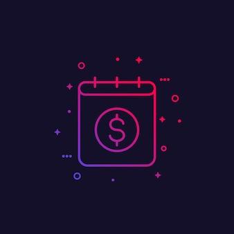 Icona di vettore del calendario finanziario, lineare