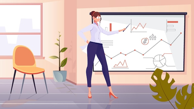 Composizione del coach finanziario con uno scenario di ufficio piatto e personaggio femminile vicino al tabellone con disegni di diagrammi grafici