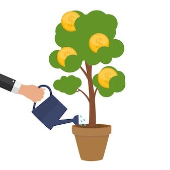 Concetto finanziario. albero dei soldi - simbolo di affari di successo. illustrazione