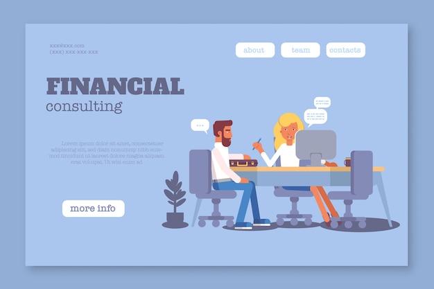 Modello di pagina web per consulenza finanziaria