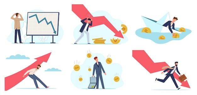 Crisi finanziaria. problema economico globale dei soldi, uomo d'affari depresso debito di prestito non pagato per bancarotta, fallimento di investimento, collasso di avvio della società, persone e set piatto di vettore di concetto di freccia che cade