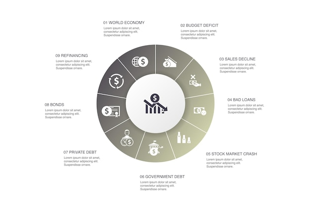 Crisi finanziaria infografica 10 passi cerchio design.deficit di bilancio, crediti inesigibili, debito pubblico, icone semplici di rifinanziamento