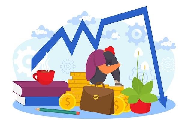 Crisi finanziaria, illustrazione vettoriale. il carattere triste dell'uomo d'affari si siede vicino al grafico di guasto di finanza aziendale, recessione di economia di mercato.