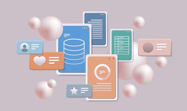Dati finanziari che analizzano le statistiche dei dati online delle app mobili controllo aziendale remoto orizzontale
