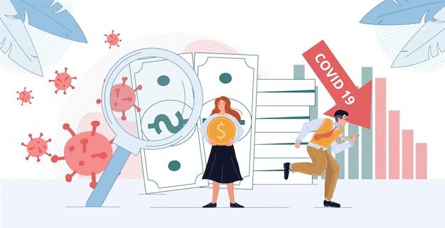 Depressione finanziaria e illustrazione delle cellule di coronavirus