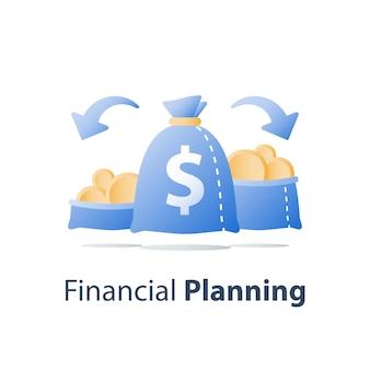 Diversificazione finanziaria, dividere il capitale, dividere asset, opzioni di investimento, guadagnare denaro, pianificazione del budget, conto di risparmio, icona