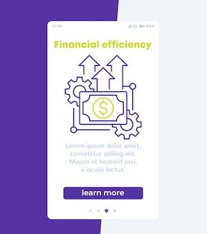 Efficienza finanziaria, banner mobile con icona di linea