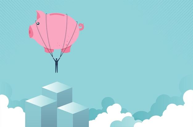 Concetto di libertà finanziaria come un palloncino salvadanaio che solleva un uomo d'affari fino al successo per la gestione
