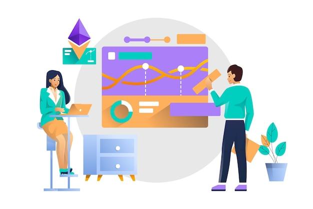 Illustrazione di concetto di analisi grafica finanziaria