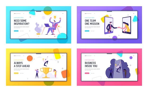 Crescita finanziaria, set di pagine di destinazione del concetto di successo aziendale