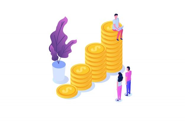 Concetto di crescita finanziaria con pile di monete d'oro