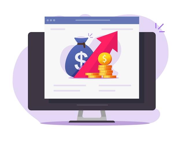 Grafico di crescita finanziaria app di trading sul mercato delle azioni online, dati economici o di profitto in denaro di vendita