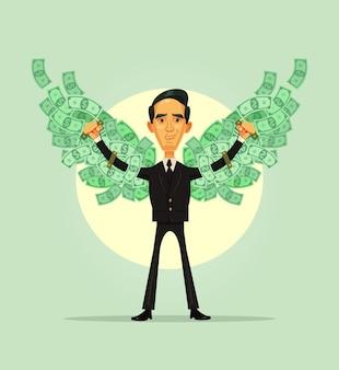 Indipendenza finanziaria. il carattere sorridente dell'uomo ricco ricco ha le ali dei soldi.