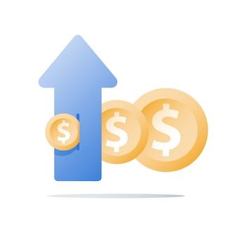 Fondo di investimento finanziario, aumento delle entrate, crescita del reddito, piano di budget, ritorno sull'investimento, strategia a lungo termine, gestione patrimoniale, più soldi