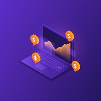 Computer portatile di investimento finanziario in isometrico