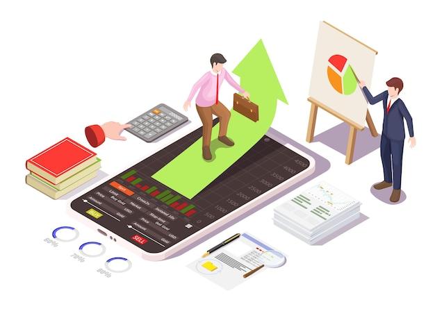 Investimento finanziario in corsi di formazione di azioni corsi online di compravendita di azioni illustrazione isometrica di vettore...