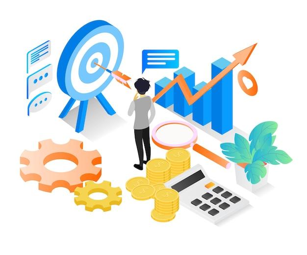 Illustrazione di stile isometrico finanziario per obiettivo aziendale