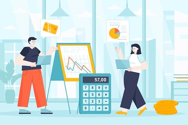 Concetto di gestione finanziaria in design piatto