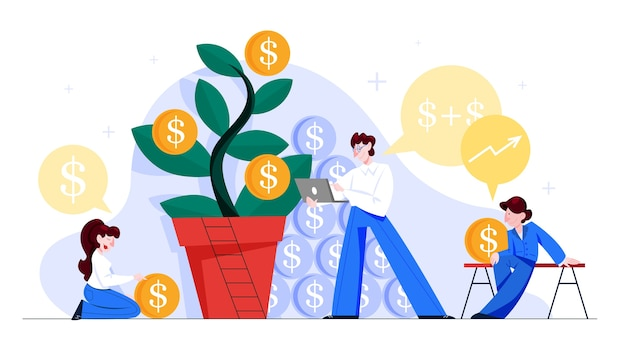 Concetto di gestione finanziaria. idea di contabilità e investimento. pianificazione finanziaria. illustrazione Vettore Premium
