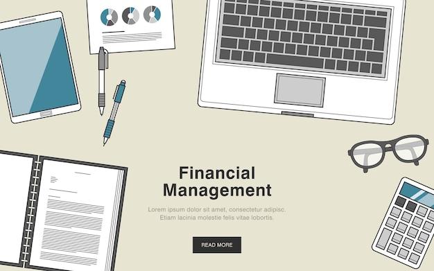 Concetto di gestione finanziaria in stile linea sottile