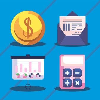 Set di simboli online di gestione finanziaria