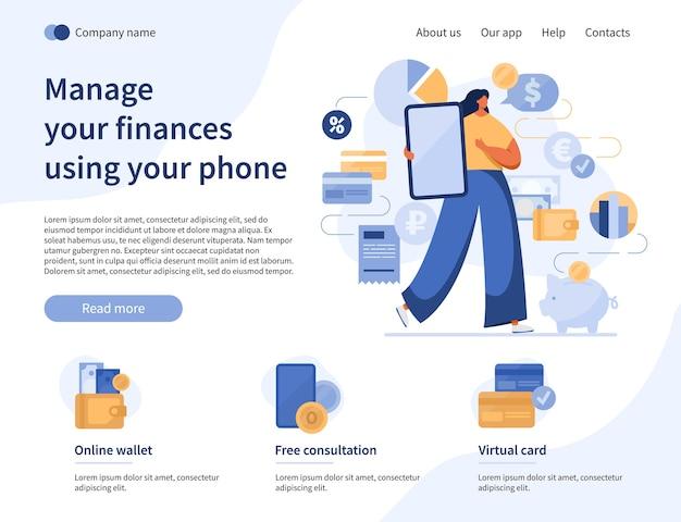 Operazioni finanziarie nella pagina di destinazione dello smartphone con la donna