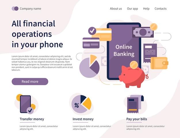 Operazioni finanziarie nella pagina di destinazione dello smartphone