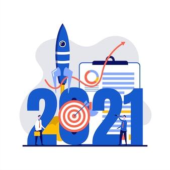 Opportunità finanziarie per il concetto di successo del nuovo anno con carattere.