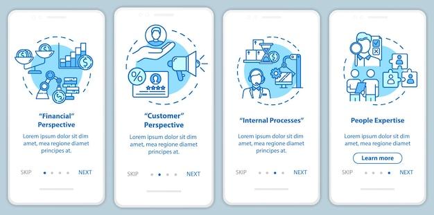 Schermata della pagina dell'app mobile di onboarding delle prospettive finanziarie con i concetti. acquisizione di potenziali clienti. istruzioni grafiche in 4 passaggi per la procedura di marketing. modello vettoriale dell'interfaccia utente con illustrazione a colori rgb