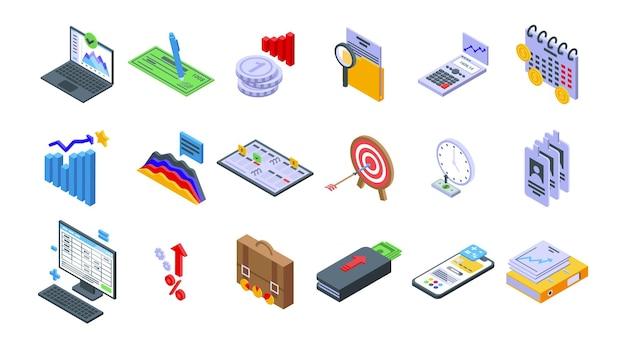 Le icone di pianificazione finanziaria hanno impostato il vettore isometrico. gestire il rischio. stabilità del piano di conto