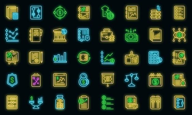 Set di icone di pianificazione finanziaria. delineare l'insieme delle icone vettoriali di pianificazione finanziaria colore neon su nero