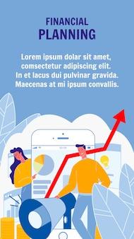 Flyer di vettore di pianificazione finanziaria con lo spazio del testo