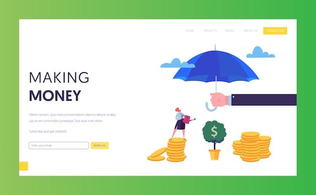 Pagina di destinazione del denaro di protezione finanziaria