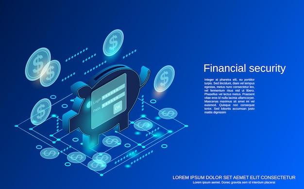 Illustrazione di concetto di vettore isometrico piatto 3d di sicurezza finanziaria