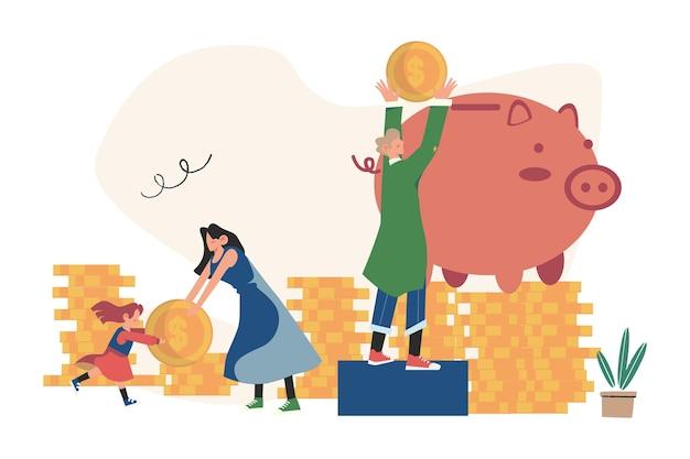 Servizi finanziari, piccoli banchieri sono impegnati nel lavoro, risparmiando o accumulando denaro