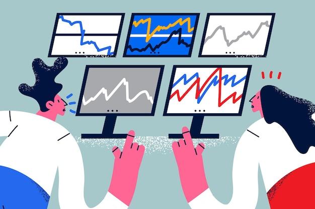 Concetto di dati di borsa finanziaria. persone che lavorano seduti all'indietro guardando gli schermi dei monitor con i tassi di informazioni finanziarie sui dati azionari illustrazione vettoriale