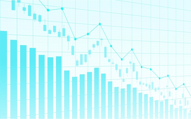 Grafico finanziario del mercato azionario sul commercio di investimento del mercato azionario, punto rialzista, punto ribassista. tendenza del grafico per l'idea imprenditoriale e il design di tutte le opere d'arte. illustrazione vettoriale.