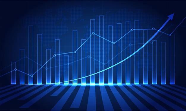 Grafico del mercato azionario finanziario sul trading di investimenti in borsa punto rialzista tendenza punto ribassista