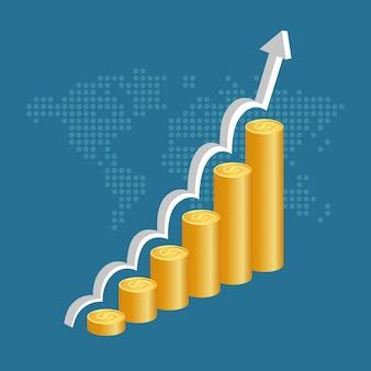 Concetto di successo finanziario pile di monete d'oro con sfondo grafico mappa e mondo.